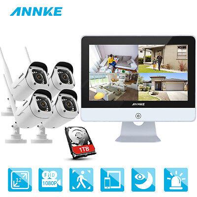ANNKE 1080P WLAN IP ÜberwachungsKamera 1TB NVR 12 Zoll Monitor Videoüberwachung