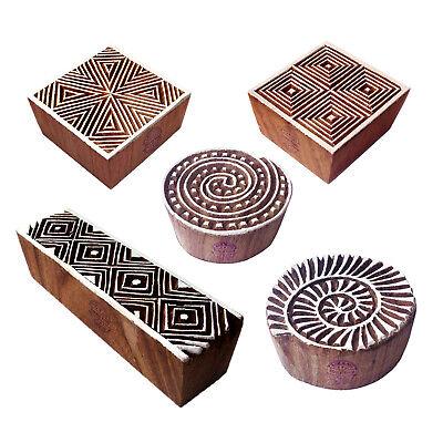 Decorative Pattern Swirl And Geometric Wood Print Blocks Set Of 5