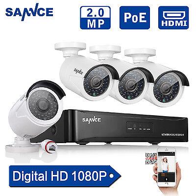 4CH 1080P Überwachungsset PoE AHD kamera Netzwerk Außen NVR Videoüberwachung
