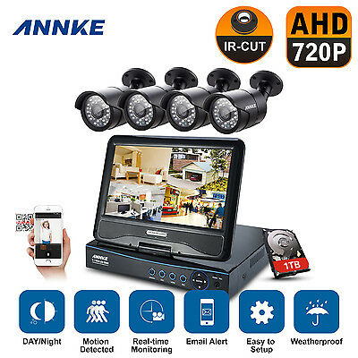"4CH 720P 10.1"" LCD Überwachung Set Video HDMI 1TB CCTV Kamera Sicherheitssystem"