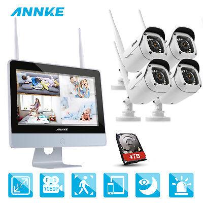 ANNKE 1080P WLAN Video ÜberwachungsKamera NVR 12 Zoll Monitor Funk 2MP IP Kamera (Kamera Video-kamera)