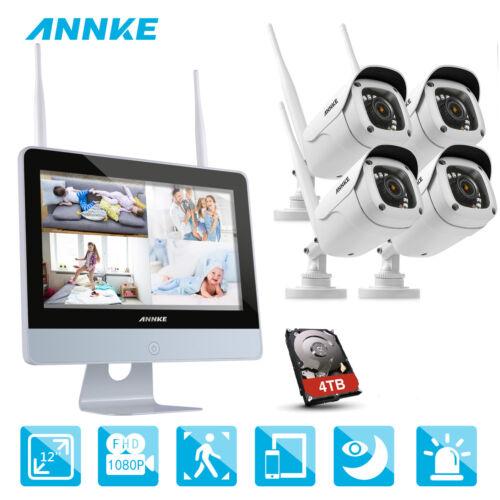ANNKE 1080P WLAN Video ÜberwachungsKamera NVR 12 Zoll Monitor Funk 2MP IP Kamera