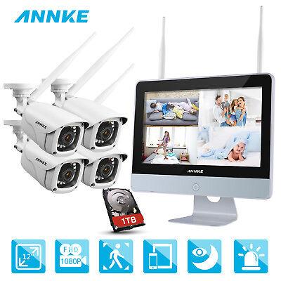 ANNKE 1080P Außen Innen WLAN IP ÜberwachungsKamera 1TB 2MP NVR + 12 Zoll Monitor