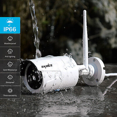 SANNCE 4CH Wireless IP Security Camera System 1080P NVR Outdoor WIFI CCTV Video