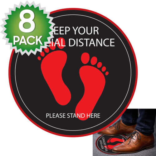 8 Pack - Social Distancing Stand Here 6ft Public Safety Floor Decal Sticker