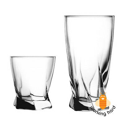 DRINKING GLASSES SET 16 Piece Glassware Classic Wiskey Water Small Large Glass