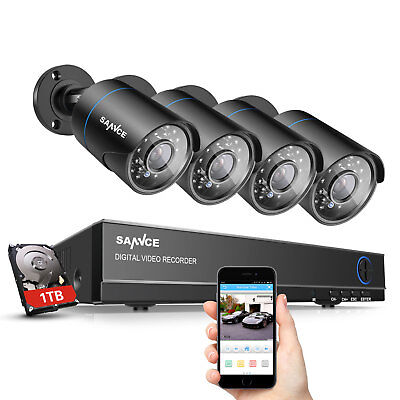 Sannce 1Tb Hard Drive 1500Tvl Outdoor 4Ch Dvr Video Ir Security Camera System