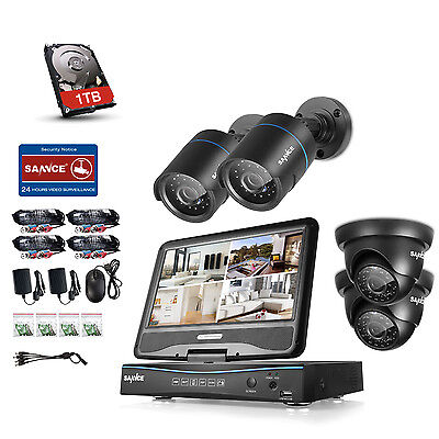 Sannce 1Tb Hdd 4Ch 1080N Dvr With 10  Monitor Home Security Camera System Remote