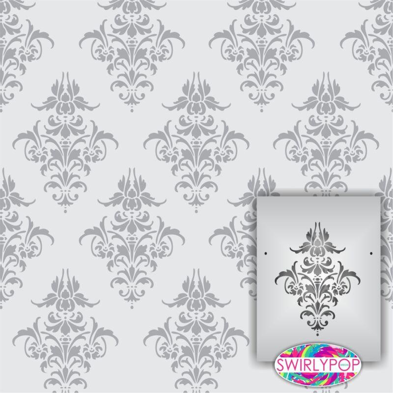 "Swirlypop Designs Damask2 wall stencil ** LARGE ** 12""x9"" Faux Mural Pattern"