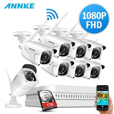 ANNKE 1080P WLAN Video ÜberwachungsKamera 8CH NVR WIFI Mit 8PCS 2MP IP Kamera IR (Wifi Video überwachungskamera)