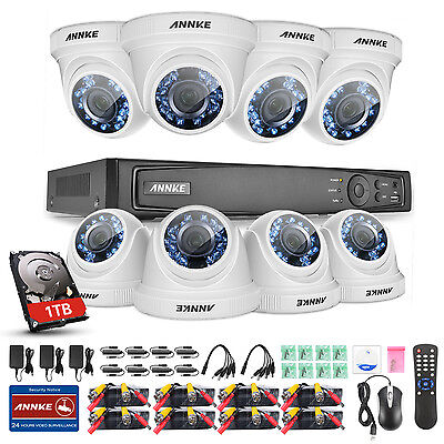 ANNKE 8CH 1080P HD 4in1 DVR 2MP VCA Outdoor Day Night Security Camera System 1TB
