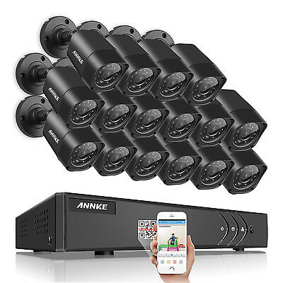 ANNKE 16CH 1080N HD TVI 4in1 DVR 1500TVL 720P Day Night Security Camera System