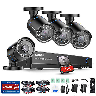 SANNCE 1080P 8CH HDMI DVR Outdoor Home Video 1500TVL Security Camera System 1TB