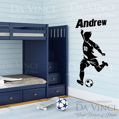 Soccer Player Decal Custom Name Wall Room Personalized Vinyl Sticker Decor B - Soccer Room Decor