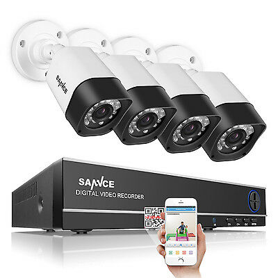 SANNCE Wired 720P HD-TVI View 8CH 1080N DVR Home Security System 3.6mm Lens HDMI