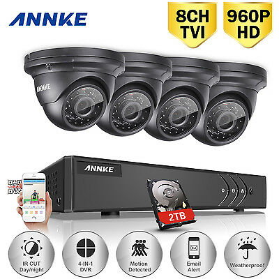 ANNKE 8CH HD 1080N DVR Video 4X2000TVL Home CCTV Security Camera System Kit 2TB