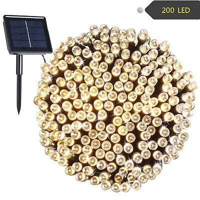 72ft 200 LED Solar Outdoor Waterproof String Lights Christmas Holiday Decoration