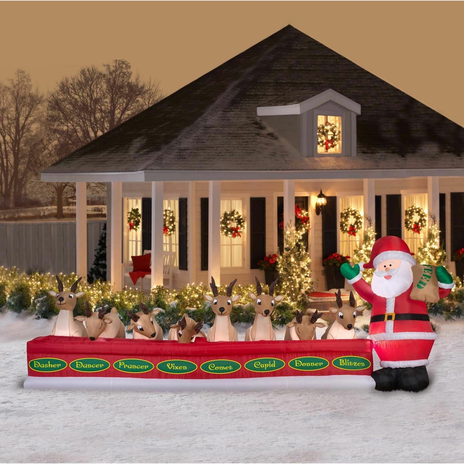 16.5' Wide Christmas Animated Inflatable Santa Feeding Reindeer Holiday Decor