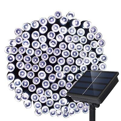 72ft 200 LED Solar String Lights 2 Mode Waterproof Outdoor Decoration White NEW
