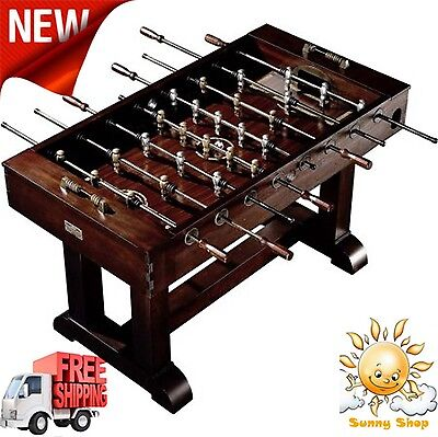 "56"" Foosball Soccer Table Premium Solid Woods And Veneers Game Room New"