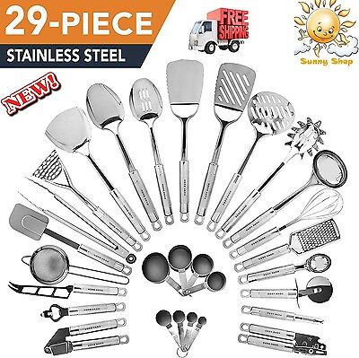 Kitchen Utensils Set Home Cooking Tools Gadgets 29-Piece Stainless Steel New