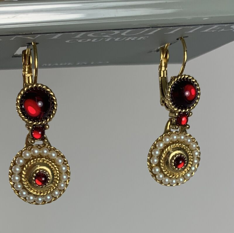 Victorian Era Look Lever Back Yellow Gold Round Pearl Red Drop Earrings $48 MSRP