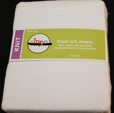 Circo Knit Fitted Crib Sheets White 2 sheets cotton toddler bed sheets new #1358 for sale  USA