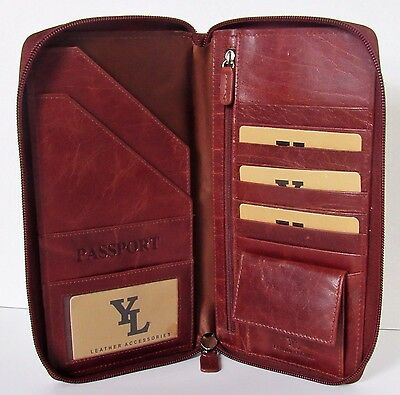 AMAZING GENUINE LEATHER BROWN EXECUTIVE TRAVEL PASSPORT HOLDER -