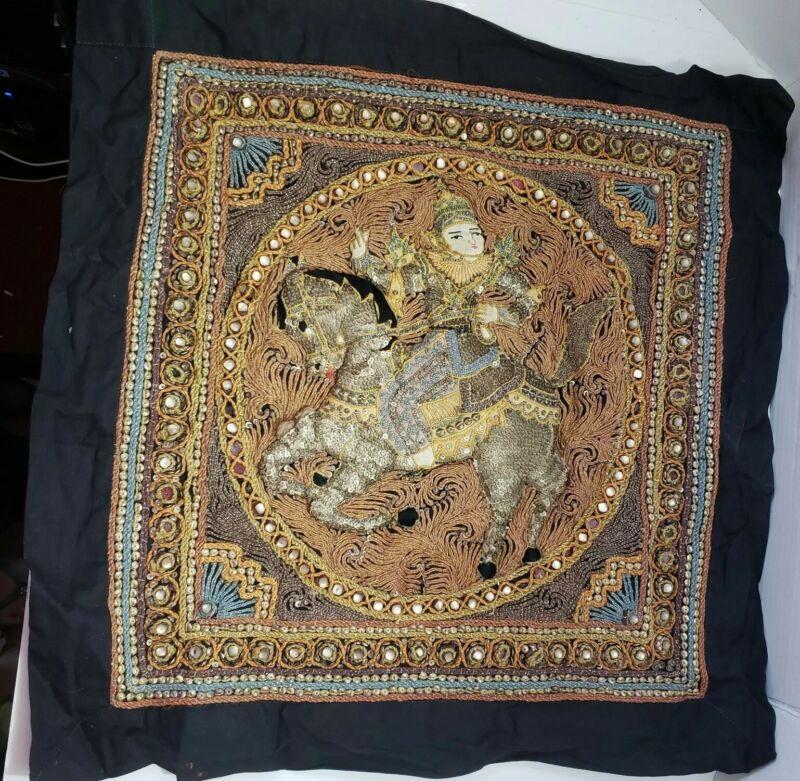 "Vintage Kalaga Wall Tapestry Asian Burmese Thai Worrier Horse 23"""