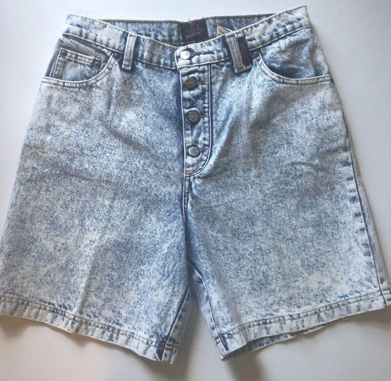 Vintage SASSON Sz 11/12 High Waist Acid Wash Button Fly Denim Jean Shorts 80 90s