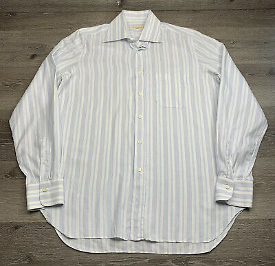 Andrea FINAMORE NAPOLI 1925 Blue Stripe Dress Shirt Button Up Mens Size 16.5/42