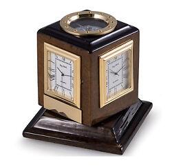 DESK CLOCKS - MULTIPLE TIME ZONE REVOLVING CLOCK & COMPASS - DESKTOP CLOCK