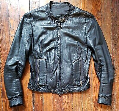 S.W.O.R.D 6.6.44 London Designer Black Leather Bomber MC Jacket Italy XS