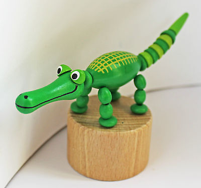 Crocodile - classic wooden Detoa push-up toy figure - new, European certified