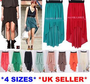 Women-Girl-Elegant-Chiffon-Sexy-Long-Asymmetric-Maxi-Skirt-Elastic-Band-4-Sizes