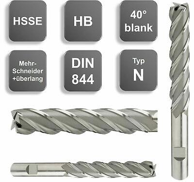 HSSE-Schaftfräser 40°, HB, Z=4, blank, extralang, überlang DIN844 TypN 6 - 25 mm