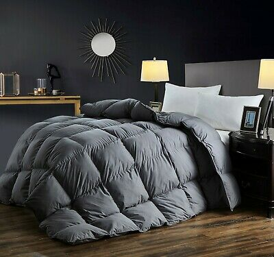 Premium Queen Goose Down Comforter 1000 TC Cotton Shell 750 FP with 8 Taps,Grey ()