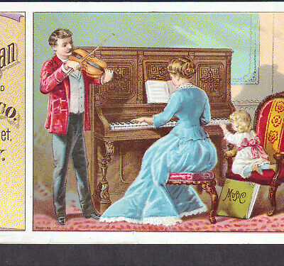 Antique Smith American Piano Duet Violin Parlor Boston Music Organ Ad Trade Card