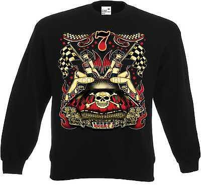 Babe Sweatshirt (Sweatshirt schwarz Hot Rod-,US Car & `50 Stylemotiv Modell Lucky 7 Hot Babes)