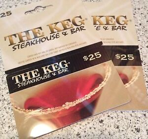 The Keg gift cards 2x$25=$50