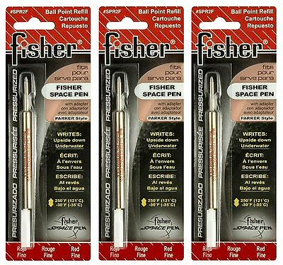 Drei (3) Fisher Space Pen Spr Serie Rot Tinte Fine Point Minen #SPR2F Fisher Space Pen Fine Point