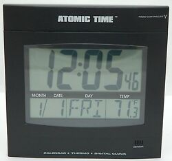 NEW Time Tech Digital LED Atomic Wall Clock Thermostat Day/Date Temperature Big