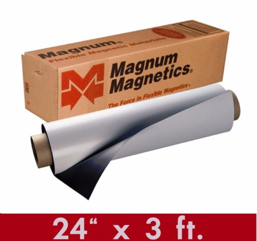 """Magnum Mag 24"""" width x 3 Ft ROLL 30 Mil. Blank Magnetic Sign Sheet Cars / Crafts"""