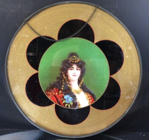 "ANTIQUE FLUE COVER--GYPSY PORTRAIT-- 11.0""--NICE--BUY IT NOW"