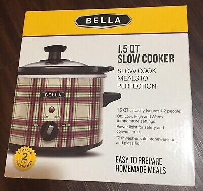 Bella Slow Cooker 1.5 qt Plaid-Brand new!