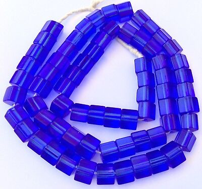 -  Vintage Fine Czech Crystal Russian blue Faceted Glass African Trade beads
