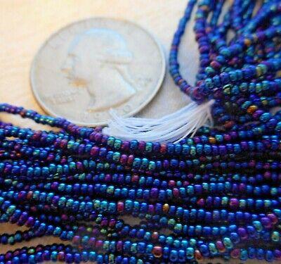 Czech 13o Full hank BLUE IRIS 24 loops per hank seed beads bead work Iridescent