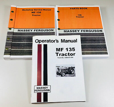 Massey Ferguson 135 Tractor Factory Service Parts Operators Manual Shop Oh Set