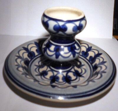 Keramik - Kerzenhalter mit blauen Ornamenten