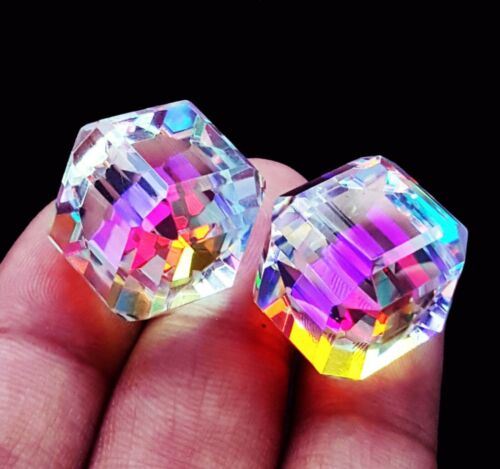 Loose Gemstone Mystic Quartz Cube Pair 50 To 60 Ct Certified With Free Delivery